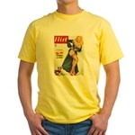Flirt Pin Up Beauty Girl with Dog Yellow T-Shirt