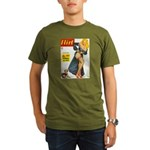 Flirt Pin Up Beauty Girl with Dog Organic Men's T-