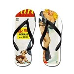 Flirt Pin Up Beauty Girl with Dog Flip Flops