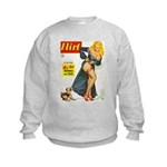 Flirt Pin Up Beauty Girl with Dog Kids Sweatshirt