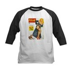 Flirt Pin Up Beauty Girl with Dog Kids Baseball Je