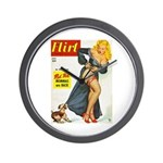 Flirt Pin Up Beauty Girl with Dog Wall Clock