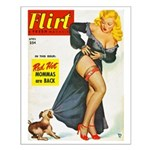Flirt Pin Up Beauty Girl with Dog Small Poster