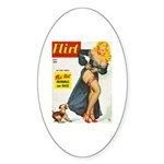 Flirt Pin Up Beauty Girl with Dog Sticker (Oval 10