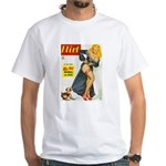 Flirt Pin Up Beauty Girl with Dog White T-Shirt