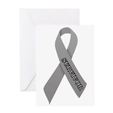 Gray Ribbon 'Survivor' Greeting Card