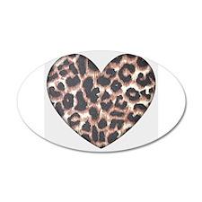 Leopard Print Heart 38.5 x 24.5 Oval Wall Peel