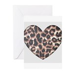 Leopard Print Heart Greeting Cards (Pk of 10)