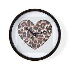 Leopard Print Heart Wall Clock
