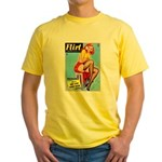 Flirt Vintage Pin Up Girl Warming Up Yellow T-Shir