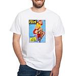 Flirt Vintage Pin Up Girl Warming Up White T-Shirt