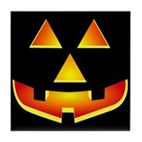 Jack 'O Lantern Pumpkin Glowing Face Tile Coaster