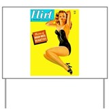 Flirt Vintage Pin Up Girl in Black Yard Sign