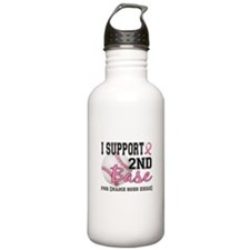 Second 2nd Base Breast Cancer Water Bottle