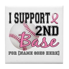 Second 2nd Base Breast Cancer Tile Coaster