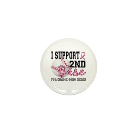 Second 2nd Base Breast Cancer Mini Button (100 pac
