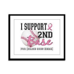 Second 2nd Base Breast Cancer Framed Panel Print