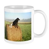 Cat and Dog on Hay Bale Mug