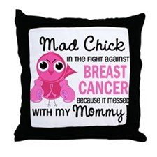 Mad Chick 2 Breast Cancer Throw Pillow