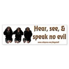 """No Evil"" Bumper Bumper Sticker"