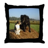 Best Buddies on a Hay Bale Throw Pillow