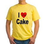I Love Cake (Front) Yellow T-Shirt