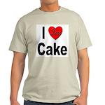 I Love Cake (Front) Ash Grey T-Shirt