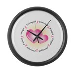 Pink Ribbon Large Wall Clock
