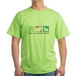 Peace, Love, Norwich Terriers Green T-Shirt