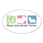 Peace, Love, Norwich Terriers Sticker (Oval 50 pk)