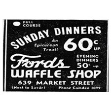Framed Ford's Waffle Shop Sign