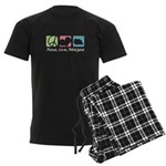 Peace, Love, Pekingese Men's Dark Pajamas