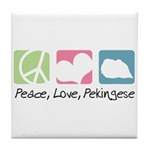Peace, Love, Pekingese Tile Coaster