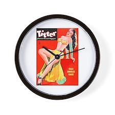 Titter Pin Up Girl with Long Hair Wall Clock