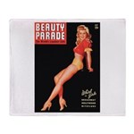 Beauty Parade Vintage Leggy Pin Up Throw Blanket