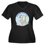 Salty Old Dog Women's Plus Size V-Neck Dark T-Shir
