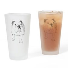 Bulldog Drawing Drinking Glass