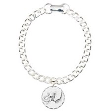 Elephant profile drawing Charm Bracelet, One Charm