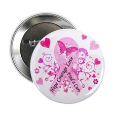 "Pink Ribbon with Love 2.25"" Button"