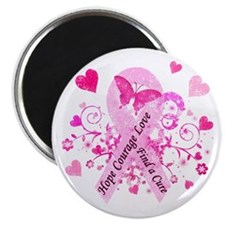 "Pink Ribbon with Love 2.25"" Magnet (10 pack)"