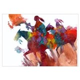 Abstract Native Americans on Horseback Print