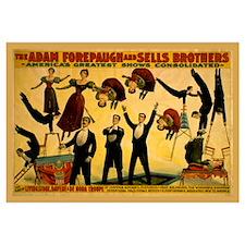 Old Circus Acrobatic Troupe Print