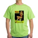 Titter Vintage Pin Up Girl Magazine Green T-Shirt