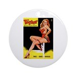 Titter Vintage Pin Up Girl Magazine Ornament (Roun