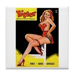 Titter Vintage Pin Up Girl Magazine Tile Coaster