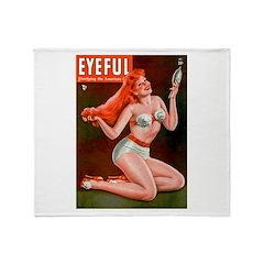 Eyeful Vintage Redhead Pin Up Girl Throw Blanket