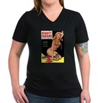 Beauty Parade Pin Up with Rose Women's V-Neck Dark