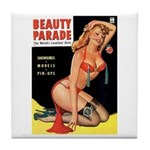 Beauty Parade Pin Up with Rose Tile Coaster