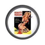 Beauty Parade Pin Up with Rose Wall Clock
