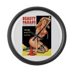 Beauty Parade Pin Up with Rose Large Wall Clock